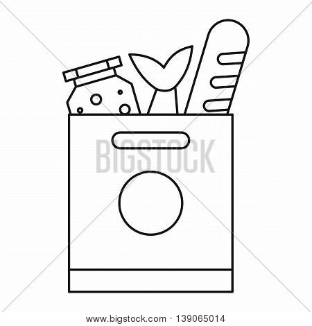 Grocery bag with food icon in outline style isolated vector illustration