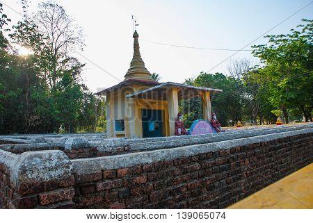 Maze With A Pagoda. Hpa-an, Myanmar. Burma