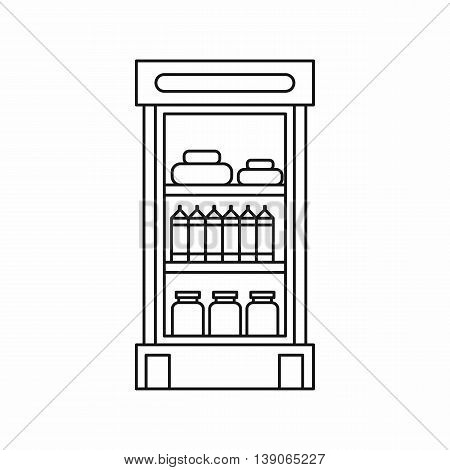 Products in the supermarket refrigerator icon in outline style isolated vector illustration