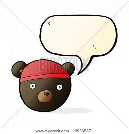 cartoon black bear cub wearing hat with speech bubble