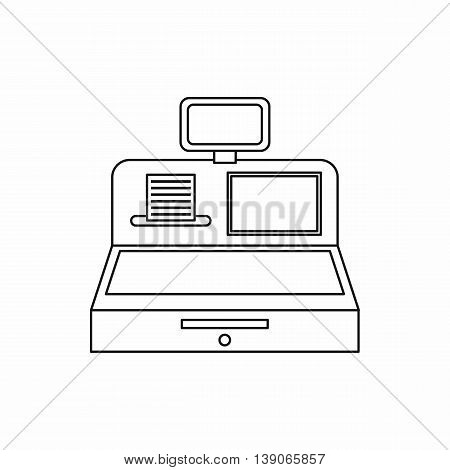 Cash register with cash drawer icon in outline style isolated vector illustration