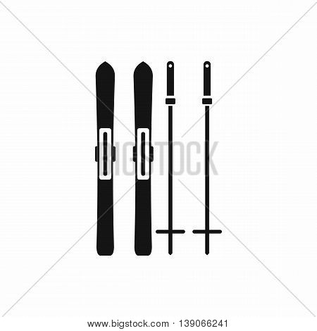 Skis and ski poles icon in simple style isolated vector illustration