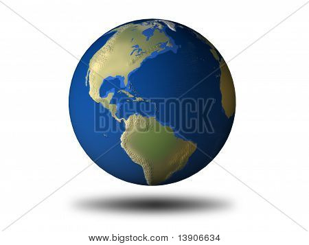 3D Earth With Relief - America