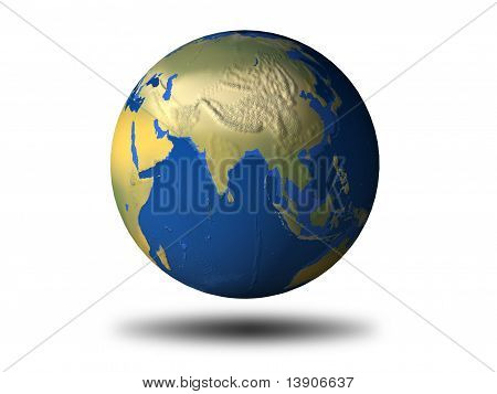 3D Earth With Relief - Asia
