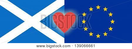 Flags of Scotland and European Union are Connected by Red Heart: Scotland Wants to Remain in EU following Brexit Referendum (Concept)