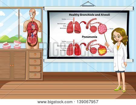 Doctor explaining lung disease in the room illustration