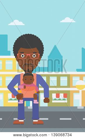 An african-american father carrying daughter in sling. Father with baby in sling walking in the city street. Young father carrying newborn in sling. Vector flat design illustration. Vertical layout.