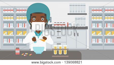 An african-american young pharmacist using mortar and pestle for preparing medicine in the laboratory. Vector flat design illustration. Horizontal layout.