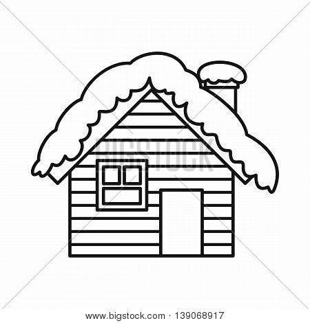 Wooden house covered with snow icon in outline style isolated vector illustration