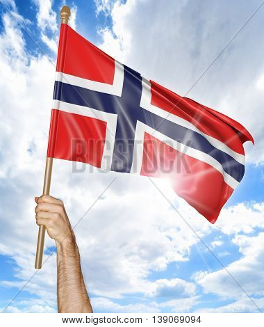 Person's hand holding the Norwegian national flag and waving it in the sky, 3D rendering