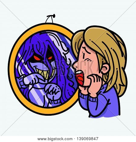 Illustration of women getting scared by evil in mirror