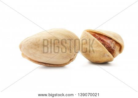 Salted pistachio nuts on white background -Clipping Path