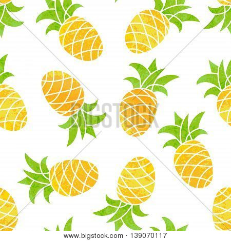 Seamless background with pineapple. Bright cheerful summer background for your design. Vector illustration.