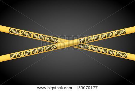 Vector illustration with Police Line Do Not Cross and Crime Scene title on Yellow Tape
