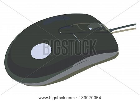 Vector illustration black computer mouse on a white background