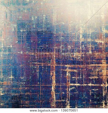 Abstract vintage background with faded grungy texture. Aged backdrop with different color patterns: yellow (beige); brown; gray; blue; red (orange); purple (violet)