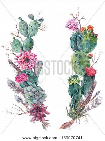 Watercolor Exotic Flower Summer Greeting Card, Vintage wreath of flowers bouquet with cactus, succulent, flowers, twigs, feathers and  arrows.  floral botanical decoration in boho style