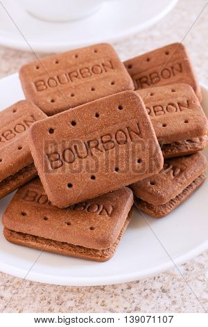 WREXHAM UNITED KINGDOM - JULY 19 2016: Bourbon biscuits or Bourbon creams a popular chocolate filled British biscuit first manufactured by Peek Freans in 1910