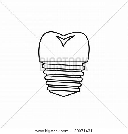 Tooth implant icon in outline style isolated vector illustration