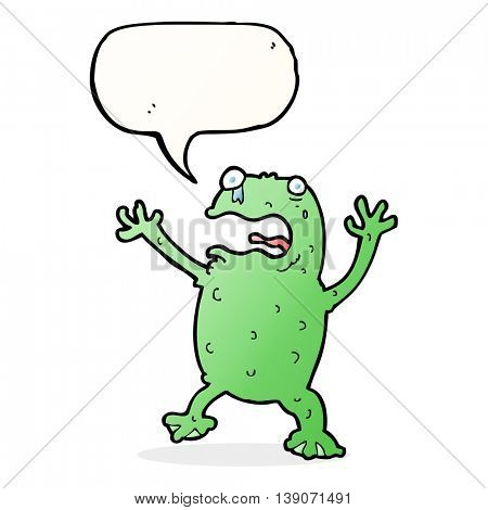 cartoon frightened frog with speech bubble