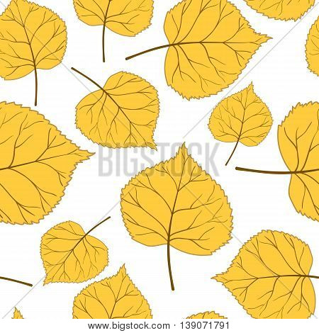 Seamless pattern with bright yellow autumn leaves scattered on a white background.Vector illustration.Can be used for clothtextilepaper.