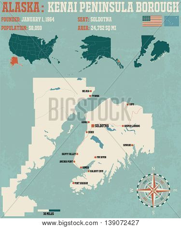Large and detailed infographic of the Kenai Peninsula Borough in Alaska