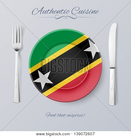 Authentic Cuisine of Federation of Saint Kitts and Nevis. Plate with Flag and Cutlery