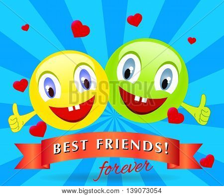funny creatures with smiling head with the raised fingers. Vector illustration of a happy friendship day
