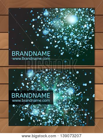 Blue Gift Business card template with abstract pattern glitter dust sparkling twinkling stars. Cosmic atmosphere background universe. Design usable for discount card invitation ticket
