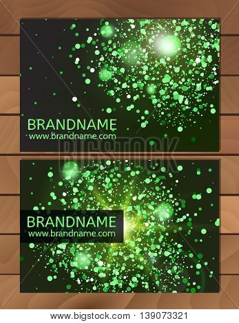 Green Gift Business card template with abstract pattern glitter dust sparkling twinkling stars. Cosmic atmosphere background universe. Design usable for discount card invitation ticket.