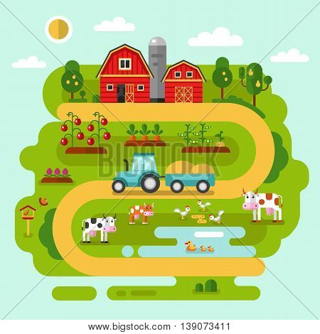 Flat vector rural landscape illustration with farm building, barn, garden, tractor, road, beds of carrot, tomatoes, pumpkin, cow, duck, chicken. Farming, agricultural, organic products concept.