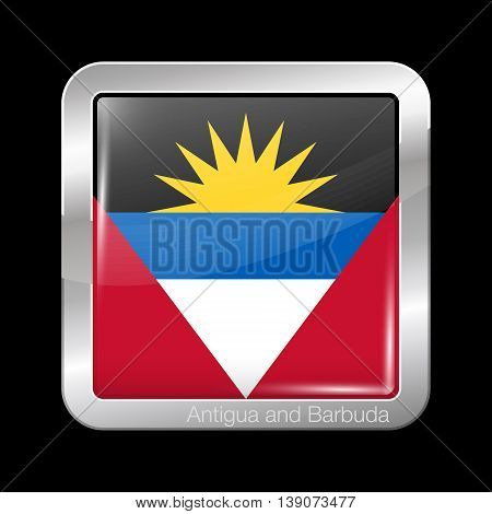 Flag Of Antigua And Barbuda. Metal Icon Square Shape