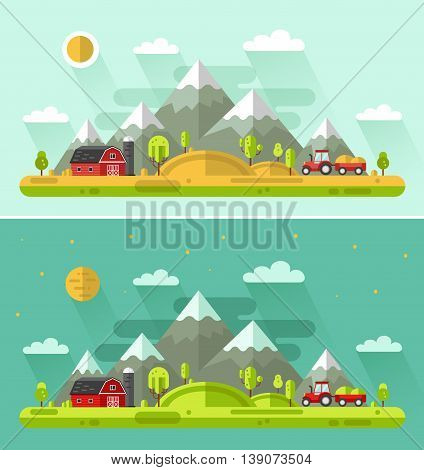 Flat design vector Day and Night rural landscapes illustration with farm building, barn, tractor, field, sun, hills, mountains, moon. Farming, agricultural, organic products concept.