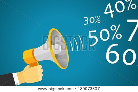 Loud voice of the speaker vector illustration. Discount