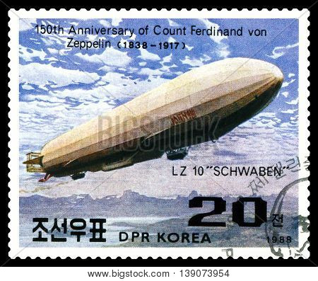STAVROPOL RUSSIA - JULY 19 2016: a stamp printed in DPR Korea shows Airship LZ-10 Schwaben Ferdinand Von Zeppelin series cirka 1988