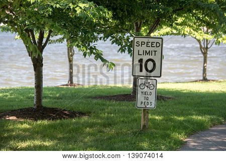 10 Mph Speed Limit Sign Pedestrian Cycling Zone