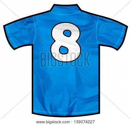 Number 8 eight Blue sport shirt as a soccer, hockey, basket, rugby, baseball, volley or football team t-shirt. Like Italy or France national team