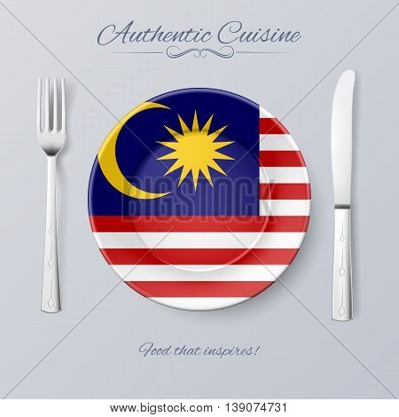 Authentic Cuisine of Malaysia. Plate with Malaysian Flag and Cutlery