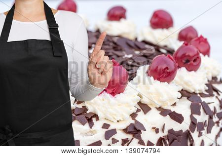 Confectioner with cake background concept template background