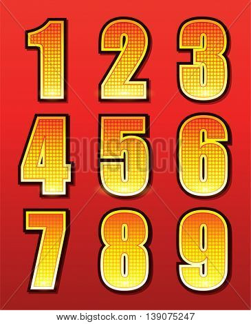 Retro numbers for signs with lamps
