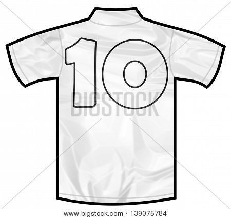 Number 10 ten white sport shirt as a soccer, hockey, basket, rugby, baseball, volley or football team t-shirt. Like German or England or USA national team