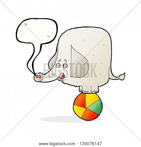 cartoon circus elephant with speech bubble