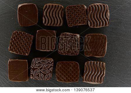 Handmade, bio and organic chocolate. Top view