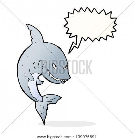 funny cartoon shark with speech bubble