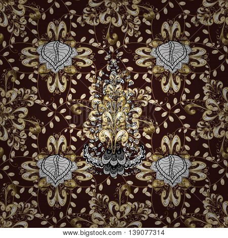 Seamless vintage pattern on dark red background with golden and white elements.