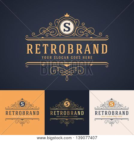 elegant luxury monogram badge template in three color versions