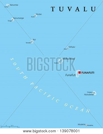 Tuvalu political map with capital Funafuti and important villages. Formerly known as the Ellice Islands, a Polynesian island nation in the Pacific Ocean, comprises reefs and atolls. English labeling.