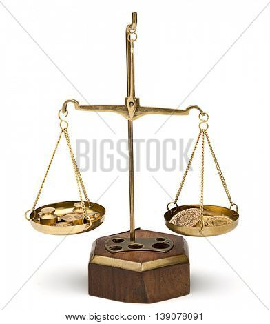 Gold Coins on Weighing Scale