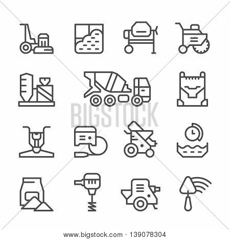 Set line icons of concrete isolated on white. Vector illustration