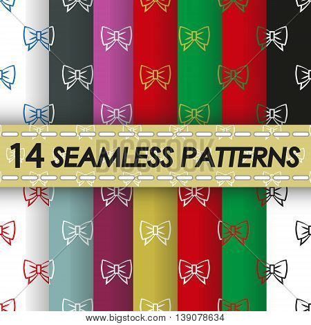 set of seamless patterns with gift bows